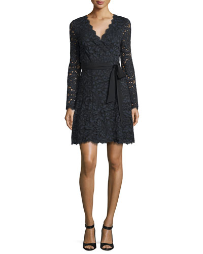 Shaelyn Lace Long-Sleeve Wrap Dress, Black/Navy/Black