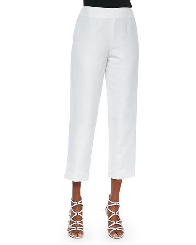 Lined Linen-Blend Cropped Pants, White
