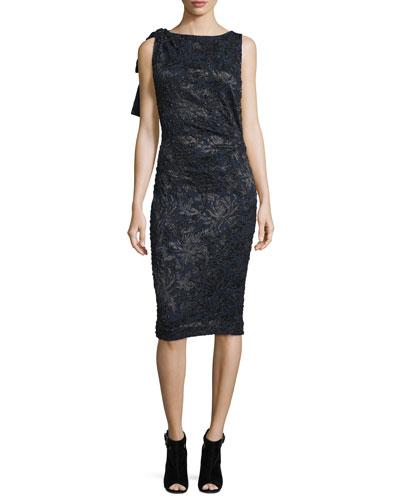 Sleeveless Embroidered Cocktail Dress, Black/Navy