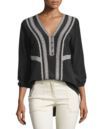 Loreto Embroidered Silk Blouse, Black