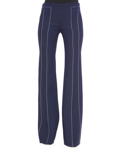 Contrast-Seam Flare Trousers, Navy/White