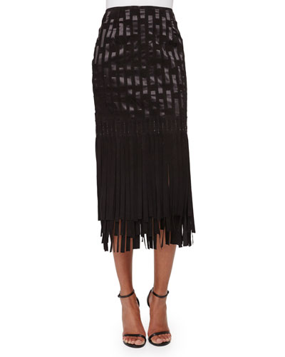 Geometric Suede Fringe Skirt, Black