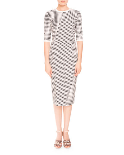 Anna Mini-Gingham Half-Sleeve Dress, Black/White