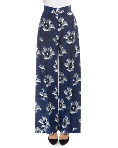 Pleated-Front Wide-Leg Pants, Navy