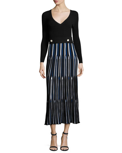 Long-Sleeve V-Neck Pleated Dress, Blue/Multi
