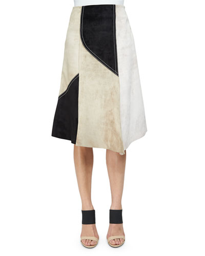 Colorblock Abstract Suede Skirt
