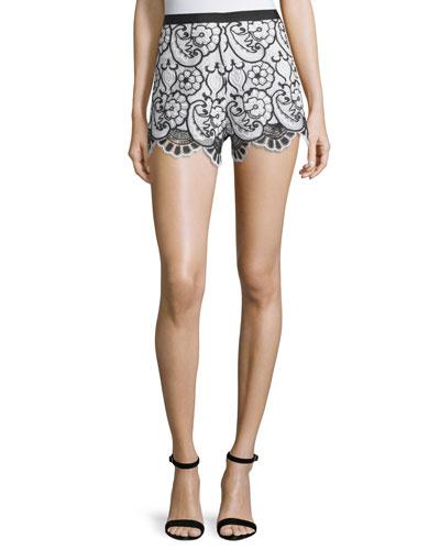 Pia Floral Lace Shorts, Blue