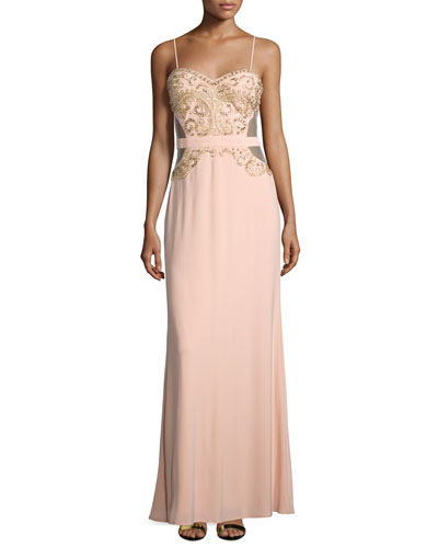 Sweetheart Embellished Gown, Apricot