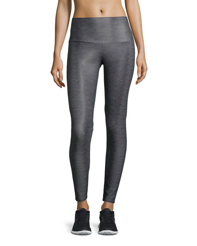 High-Rise Printed Sport Leggings, Charcoal Snake