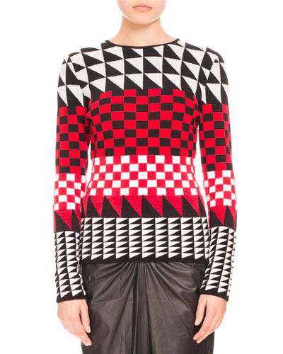 Geometric-Print Pullover Sweater, Scarlet