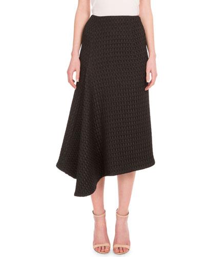 High-Waist Asymmetric A-Line Skirt, Black