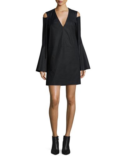 Bell-Sleeve Cold-Shoulder Dress