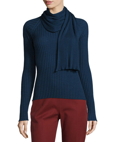Inga Long-Sleeve Faux-Scarf Top
