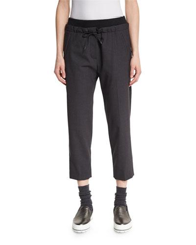 Drawstring Cropped Pants, Anthracite