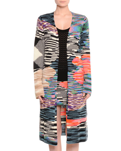 Space-Dye Patched Cardigan, Multi Colors
