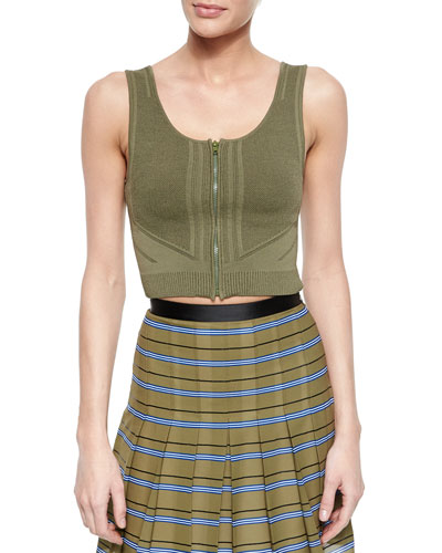 Sleeveless Zip-Front Crop Top