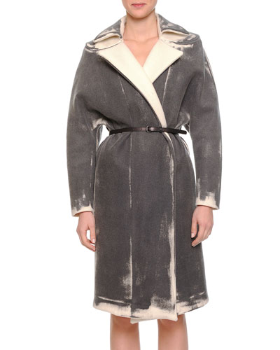 Painted Cashmere-Blend Twill Coat