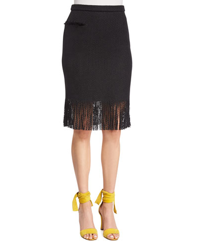 Pencil Skirt W/Fringe Hem, Black