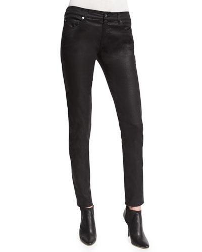 Five-Pocket Coated-Denim Jeans, Black/Multi