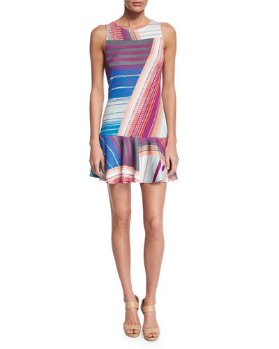 Sleeveless Striped Intarsia Dress, Gray/Blue/Orange/Magenta