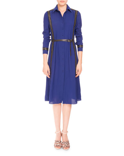 Studded Long-Sleeve Belted Shirtdress, Royal Blue