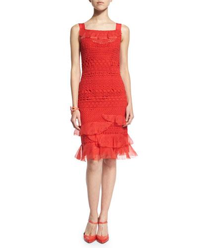 Sleeveless Banded-Lace Dress, Vermillion