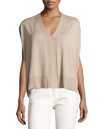 Colorblock Sleeveless Cocoon Sweater, Oatmeal Melange