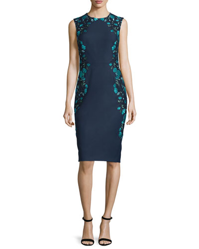 Sleeveless Embroidered Sheath Dress, Green/Multi