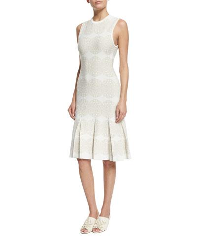 Sleeveless Medallion-Print Intarsia Dress