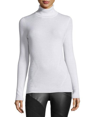 Sutton Wool-Silk Turtleneck Sweater, Canvas White