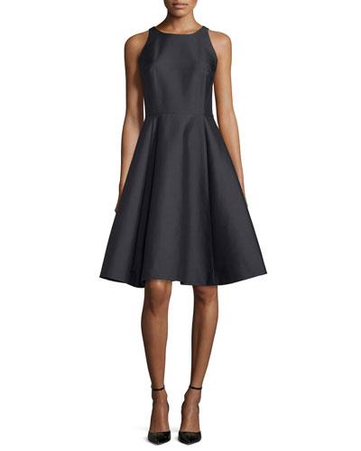 double-bow back sateen dress, black