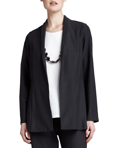 Long Washable Crepe Shawl-Collar Jacket, Plus Size