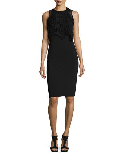 Sleeveless Popover Cocktail Dress, Black