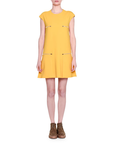 Cap-Sleeve Zip-Detail Shift Dress, Marigold