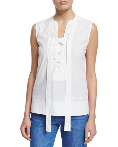 Sleeveless Lace-Up Blouse, White
