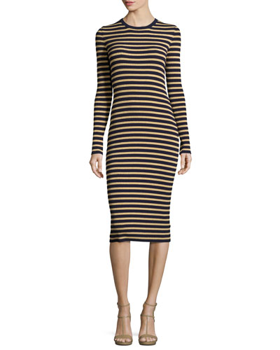Metallic-Stripe Long-Sleeve Midi Dress, Maritime/Gold