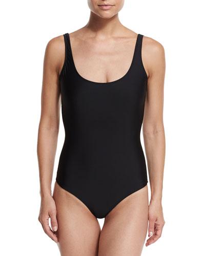 One-Piece UPF 50+ Tank Swimsuit, Black