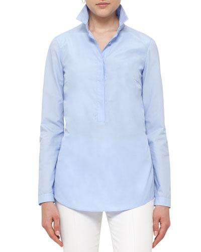 Pleated-Back Half-Button Blouse, Light Blue