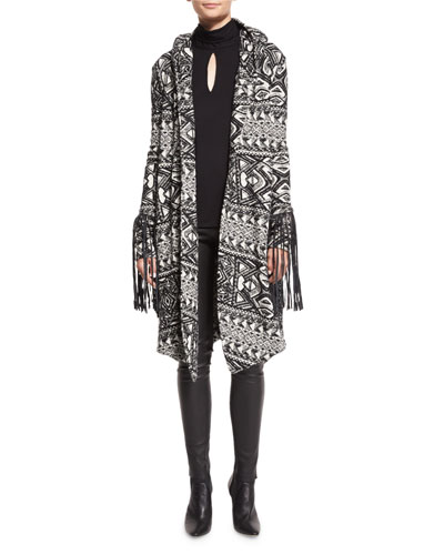 Multipattern Hooded Leather-Trim Coat