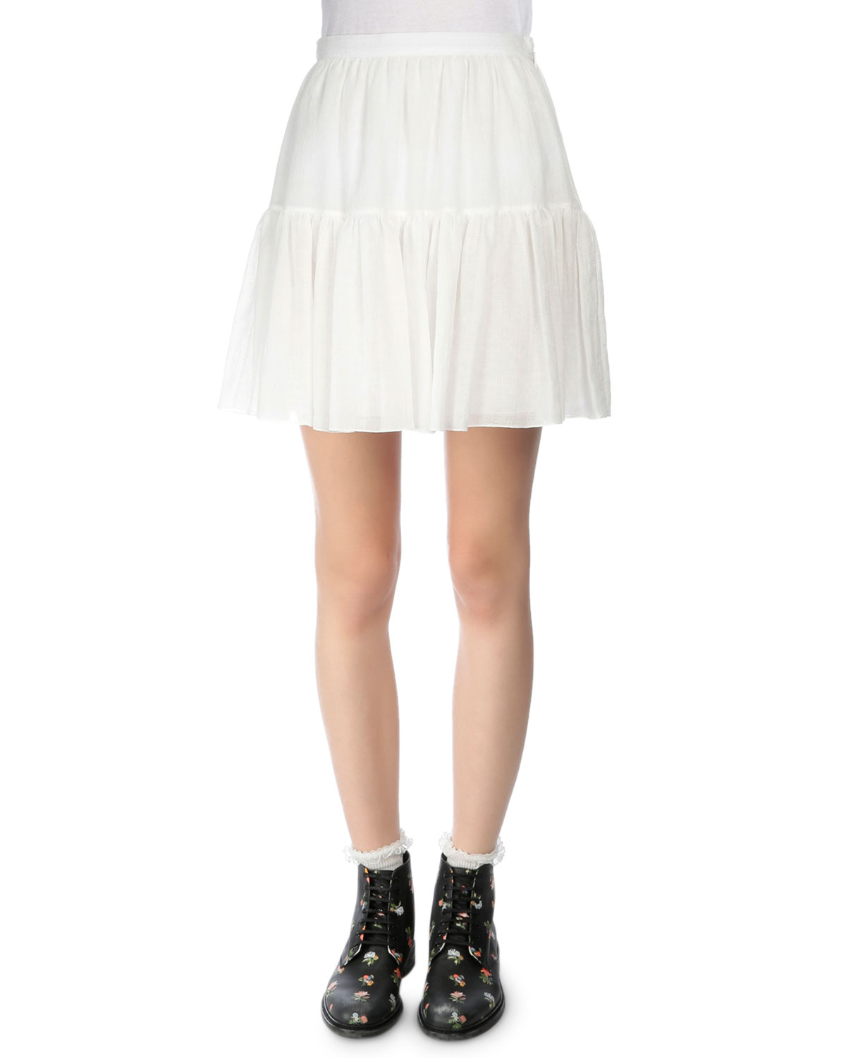 Tiered Full Mini Skirt