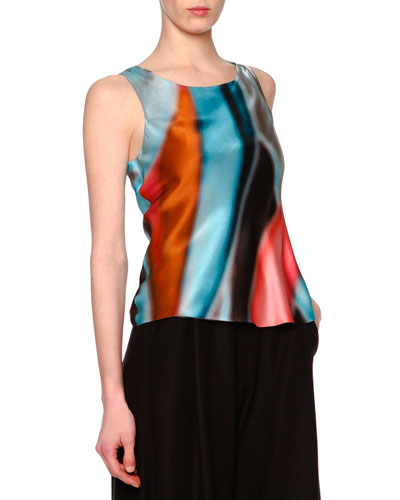 Abstract-Print Scoop-Neck Top