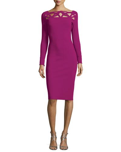 Terrie Long-Sleeve Cutout Jersey Dress, Vinaccia
