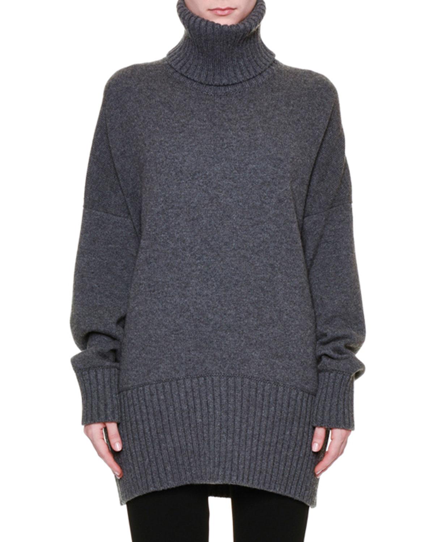 Long-Sleeve Oversized Easy Tunic Sweater, Gray