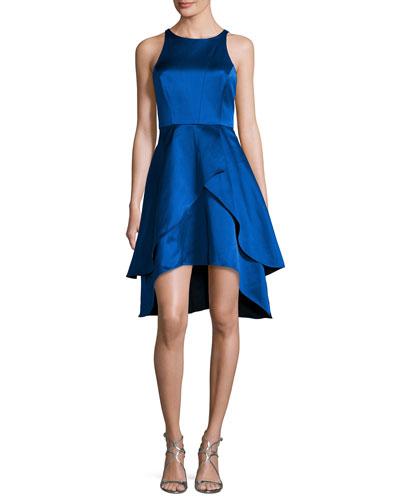 Sleeveless Tiered Satin Cocktail Dress, Cobalt
