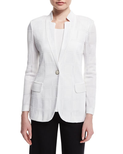 Textured Square One-Button Jacket