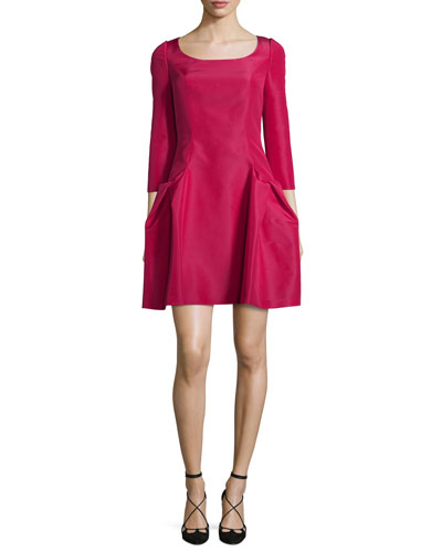 3/4-Sleeve Scoop-Neck Cocktail Dress