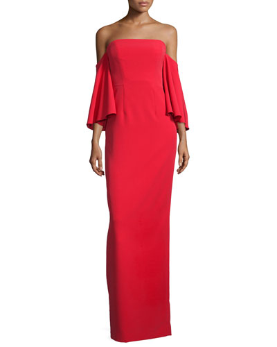 Off-the-Shoulder Ponte Gown, Tomato