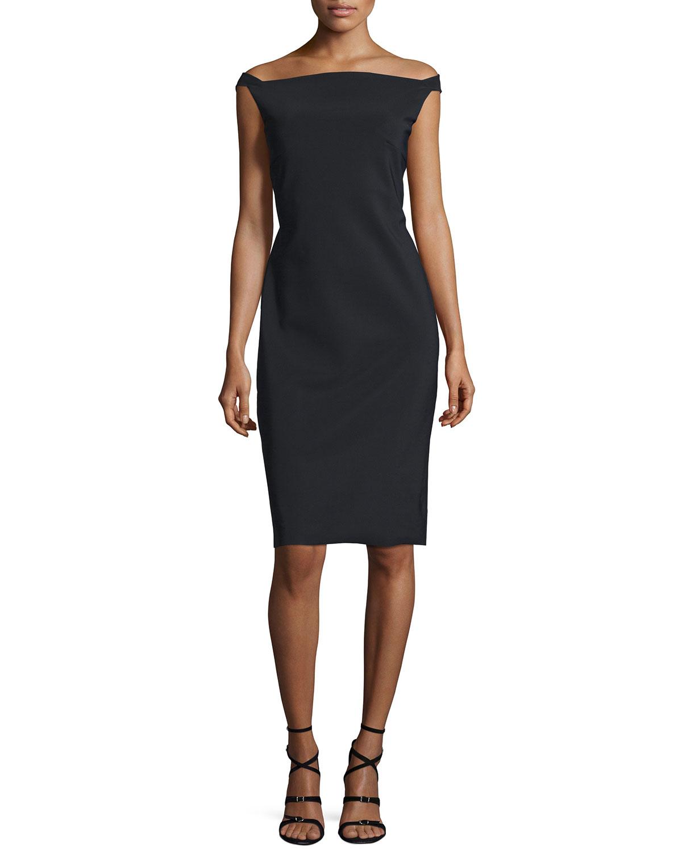 Zhalia Off-the-Shoulder Open-Back Sheath Cocktail Dress, Black