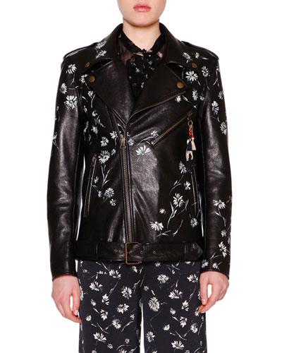 Hand-Painted Leather Biker Jacket, Black/Multi