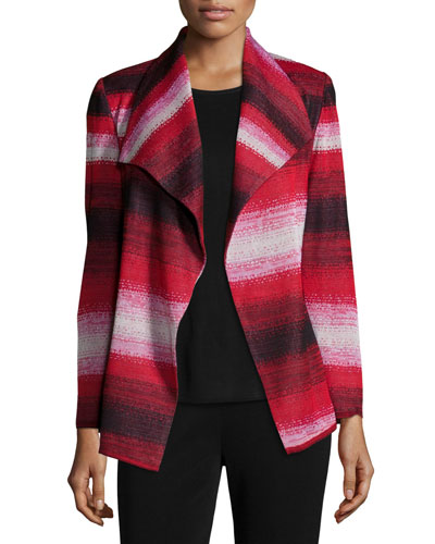 Graphic-Print Jacket W/ Belt, Petite